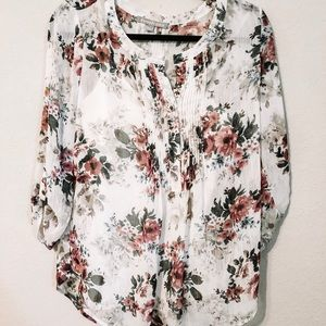 DANIEL RAINN FLORAL PLEATED LONG SLEEVE BLOUSE
